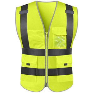 Binme Koşu inşaat işçisi Spor Koşu açık Motosiklet Ceket Reflektif Yelek Güvenlik Güvenli iş elbiseleri Gilet erkekler kadınlara zip