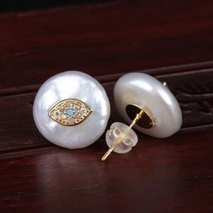 Cz pavimentar minúsculo olho azul mal proteção dos olhos encantos moeda natural de água doce pérola charme talão botão de ouro brinco para as mulheres