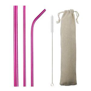 5pcs Regenbogen wiederverwendbare Strohhalme 304 Edelstahl Metall Stroh Metall Smoothies Glas Box Trinkhalm Set mit Pinsel Tasche Großhandel