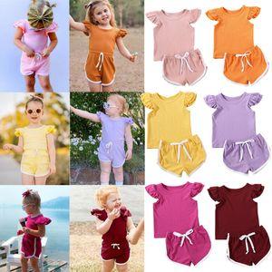 Emmababy 2PCS Yenidoğan Çocuk Kız Bebek Giyim Gömlek Pantolon Şort kintted Kıyafet Seti