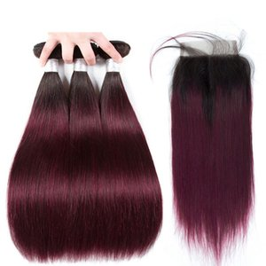 Silanda Hair Real Top Ground Ombre Color # 1B / 99J прямые реми Человеческие волосы Weaves 3 ткацких пучков с 4x4 кружевной закрытие Бесплатная доставка