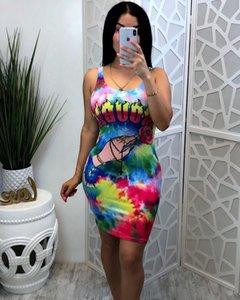 Tie Dye Womens Abiti da Multicolor Stampa Abito firmato casual femminile abiti delle signore di estate nuovo modo