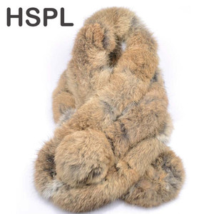 wholesale Fur Scarf 2017 Autumn And Winter Real fur Scarves Natural Rabbit Scarf With Ball Pele scarves cachecol bufandas mujer 2016