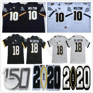 NCAA UCF Knights College Football #10 McKenzie Milton Jersey Black White SM. GRIFFIN 18 Shaquem Griffin Stitched University Jerseys Shirts
