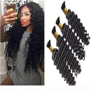 3Bundles Brazilian Deep Curly Hair 8A Mink Brazilian Hair Human Braiding Hair Bulk No Weft Brazilian Deep Wave