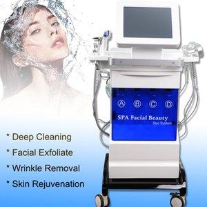 La microdermoabrasión agua dermoabrasión la limpieza de la piel Hydra dermoabrasión máquina con ultrasónica RF BIO refrigeración Hydro Oxígeno Máquina facial