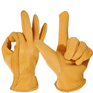 Gloves Outdoor Retro Five Fingers Unisex Gardening Leather Cycling Stretchable Working