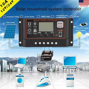 10A LCD PWM панели солнечных батарей Регулятор зарядки контроллера 12V / 24V автофокусировка Tracking