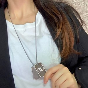 C2202 Small fragrance new tag letter necklace handsome personality men and women alike pendant necklace long style sweater chain