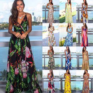 여러 가지 빛깔의 열대 정글 잎 보헤미안 롱 드레스 슬링 크로스로 돌아 가기 여성 V 넥 파티 밤 우아한 섹시한 맥시 여름 드레스 S-2XL
