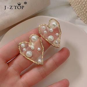 Jztop Fashion Irregular Imitation Pearl Heart Stud Earrings For Women Acrylic Star Earrings Statement Jewelry Girl Party Brincos