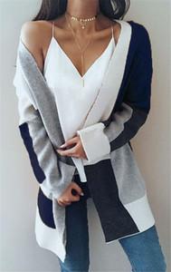 Womens Long Cardigan maglioni oversize a righe anteriore aperto allentato Colorblock Knit Autunno Kimono Duster Cappotti