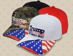 4 estilos Gorra de béisbol Donald Trump Estrella EE. UU. Bandera Gorra de camuflaje Keep America Great 2020 Hat Bordado 3D Carta ajustable Snapback dc529