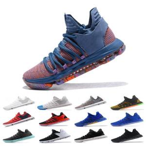 2019 Chegada Nova Que os sapatos 10s KD X 10s Rosa Azul Verde Sports Basketball Crianças qualidade Kevin Durant 10 PE Sneakers Athletic