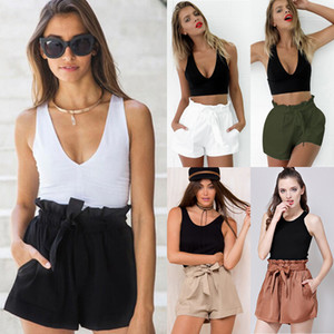 Women High Waist Solid Shorts Lady Summer causal Belt Beach Hot Trousers Pants