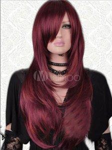 Envío libre larga recta pelucas de pelo nuevo rojo oscuro mezcla Peluca de las mujeres