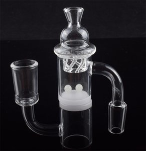 DHL Opaque Bottom 10mm 14mm 18mm clear Joint Quartz Banger Nail with Spinning Carb Cap & Terp Pearl Ball for Dab rigs glass bong