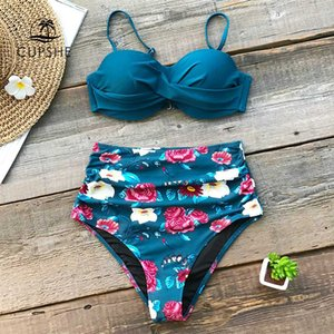 CUPSHE Blue Floral High Waist Bikini Sets Women Sexy Moulded Cup Push Up Two Pieces Swimsuits 2019 Girl Beach Bathing Suit
