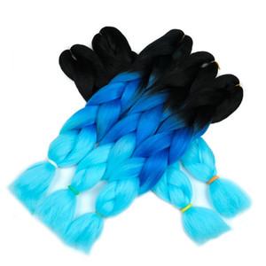 Braidin Hair Kanekalon Two Tone Ombre Color Blue Braids Jumbo Ombre Extensiones de cabello trenzado sintético para caja 24 pulgadas 500 g / 5 unidades