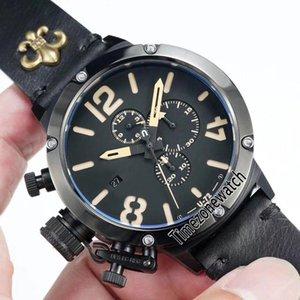 New Flightdeck U-72 U72 VK Cronografo al quarzo Orologio da uomo Acciaio PVD Quadrante nero Segno bianco Cronometro in pelle mano sinistra Cronometro E02c3.