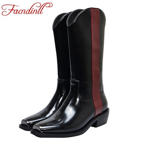FACNDINLL women boots new fashion genuine leather and patent leather square med heels shoes woman black knee high boots