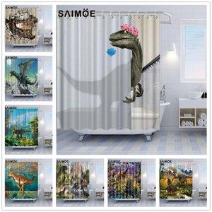 Adorável de banho Dinosaur Poliban dinossauro que quebrou para fora da concha de Banho Shower Curtain Decor monstro dinossauro Bath Curtain