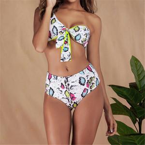 Yaz Yılan derisi deseni Yüksek Bel Bikini Seti Push Up Mayo Tek Omuz Mayo Plaj Yüksek Bel Mayo