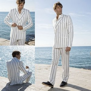 Customized Mens Suits 2020 Handsome Pinstripe Groom Suit Beach Wedding Suits Slim Fit 2 Pieces Groom Tuxedos Best Man Jacket Pants