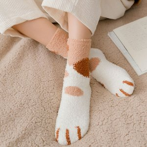 Winter Thermal Cat Claws Cute Thick Warm Sleep Floor Socks Femal Plush Coral Fleece Socks Female Tube Socks
