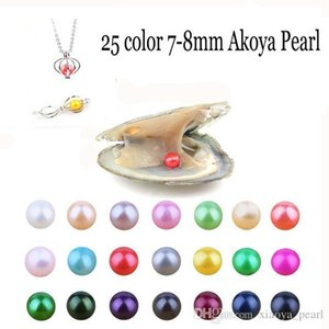Wholesale2018 natural 7-8m m Akoya Mix Colors agua dulce redondo de la perla de la ostra para la toma de bricolaje joyería del anillo de la pulsera Pendientes collar de regalo