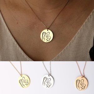 Mother's Day Love Necklace Gifts, Mother Baby, New Mom, Maternity Necklace Mom Stainless Steel Chain Jewelry Gifts for Her