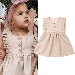 Pudcoco 2019 Summer Infant enfant solide bébé fille manches Robe Princesse Party Tutu Sun Robes Casual