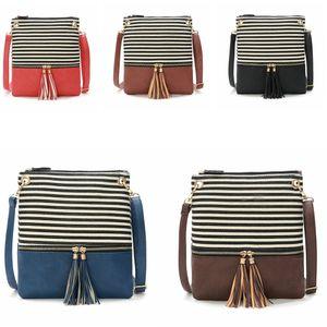 5 estilos Stripe Tassel Bag Borla CrossBody Bag Lona Bolsa Mulheres lady conjunta Listrado Praça mini moda Tassel pingente Saco flap FFA2423