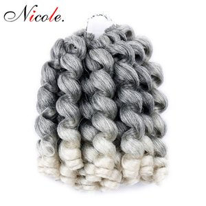 Nicole Jamaican Bounce Jumpy Wand Curls Braiding Hair Extensions 20 Strands Pack Afro Fluffy Crochet Braids Bulk Synthetic Hair Extensions