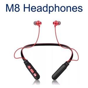 M8 سماعة بلوتوث ستيريو لاسلكي بكلتا الأذنين سماعات الرأس والأذن الألعاب الرياضية سماعات بالنسبة XIAOMI هواوي الرقبة معلق سماعة 40XY
