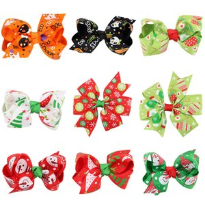 Baby Christmas Bow Barrettes 12 Diseño de dibujos animados Impreso Hallween Hallween Bows Kids Bow Headwear Baby Headbands Chicas Clips de pelo 06