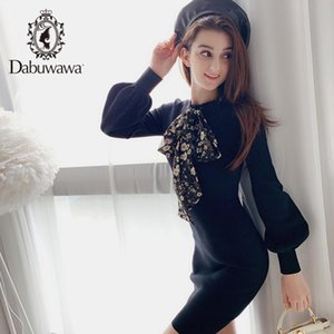Dabuwawa Knitted Bow Women Dress Lantern Sleeve Office Lady Autumn Solid Black Dresses Girl Bodycon Fashion DN1DDR017