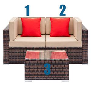Garten-Sets Allwetter-Freizeitmöbel Außen Sectional Sofa Sectional Conversation Couch-Möbel Manuelle Weaving Wicker Rattan Patio