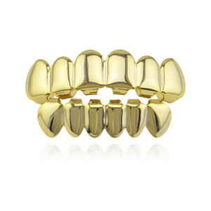 Hip Hop Gold Teeth Grillz Top & Bottom Grills Dental Mouth Punk Teeth Caps Cosplay Party Tooth Rapper Jewelry Gift GT41