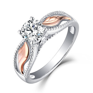 أزياء المرأة الفضة مطلي أجنحة الملاك مجوهرات الزفاف حفلة خطوبة الماس كريستال معبأ يوم حلقة عيد الحب هدية الولايات المتحدة الحجم 5-10