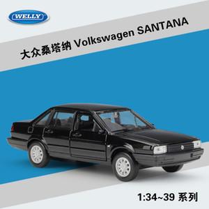 WELLY Diecast Auto-Modell-Spielzeug, Volkswagen Santana, 1.36 Hohe Simulation mit Pull Back, Kid Geburtstagsgeschenk, Sammeln, Start-Verzierung-Dekoration
