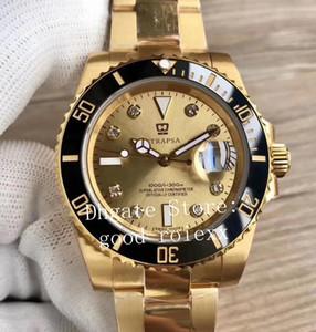 Herrenuhr VR Factory Automatic Eta 2836 Uhrwerk Uhren Real Wrapped 18 Karat Gelbgold Diamant Herren Datum 116618 Perpetual Sub Armbanduhren