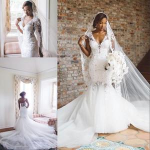 De nouvelles arabes Robes de mariage d'Afrique 2020 trompette Cap manches courtes en 3D Fleurs avec Applique Long Train mariage pas cher Robes de mariée Plus la taille