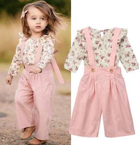2PCS Niños pequeños Bebé Niña Ropa de invierno Floral Tops + Pantalones Trajes generales conjunto de ropa de niña dulce