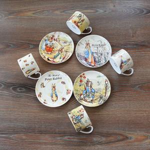 Export Britain Bone China Coffee Cup Saucer Sets England Cartoon Peter Rabbit Red Teacup Milk Afternoon Tea Tumbler Dish Suit