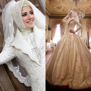 Luxe Musulman Ball Robe De Mariée Robes De Mariée Haute Collier Perlée Dentelle pleine manches Saudi Arabie Robe de mariée Traditionnel Moyen-Orient Mariage Hijab