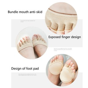 With Forefoot Cushion Women Socks Heelless Sweat Absorption Non Slip Soft Open Toe Summer Invisible Half Sole Pad Sandals Lining