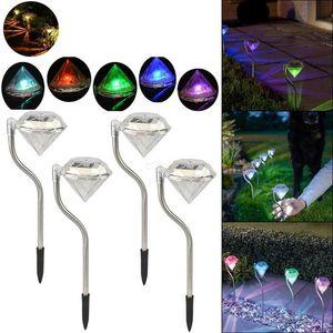 실외 LED 태양 전원 램프 정원 경로 스테이크 초롱 램프 LED 다이아몬드 잔디 빛 통로 정원 장식 LJJA2437