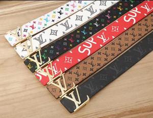 2019Hot venta de nuevo para mujer para hombre de la correa negro correas de cuero genuinas puro negocio cinta de color patrón de serpiente de la hebilla del cinturón de box + cinturones