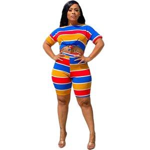 إمرأة مصمم بذلتين قطعة أزياء مخطط خياطة طباعة كم قصير السراويل عارضة تباين اللون إمرأة رياضية